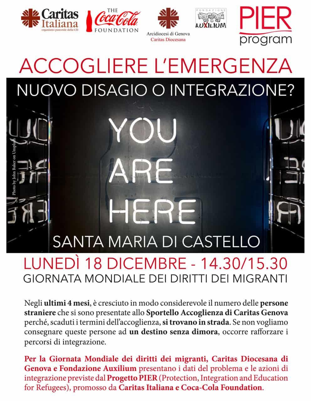 18 dicembre. Caritas e Auxilium per la Giornata Mondiale del Migrante