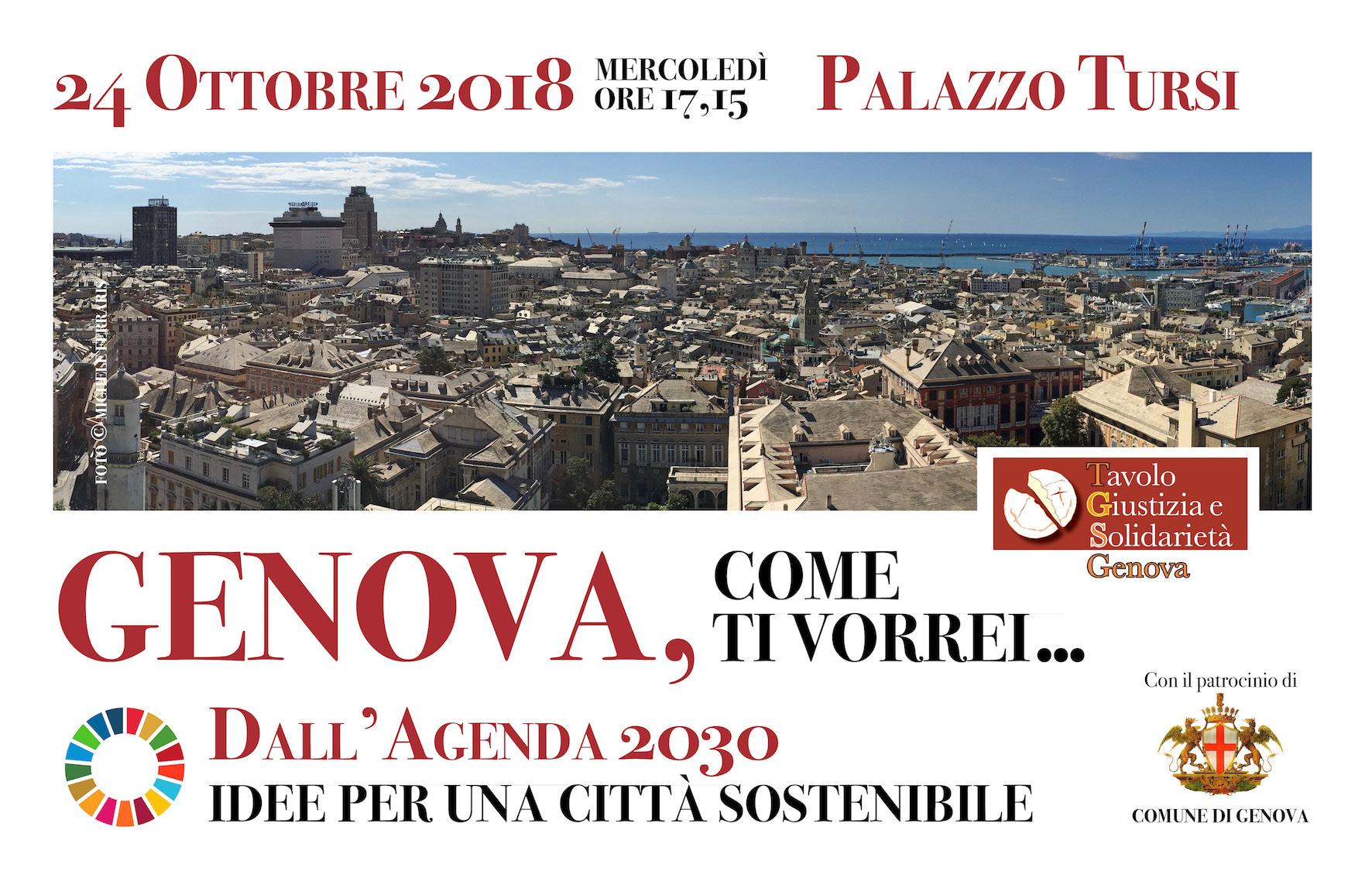 """24 Ottobre. """"Genova, come ti vorrei… Dall'Agenda 2030 idee per una città sostenibile"""""""