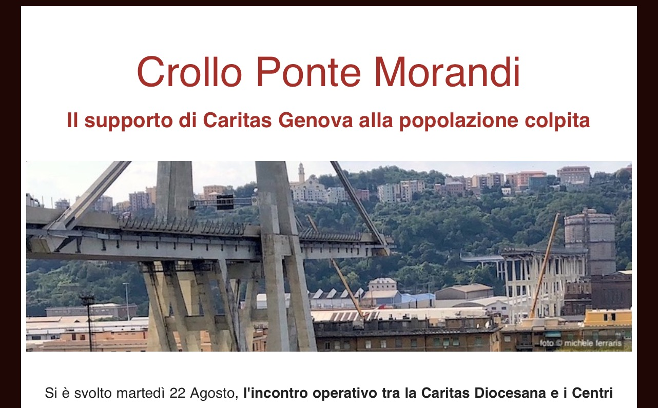 Iniziative Caritas dopo il crollo del ponte