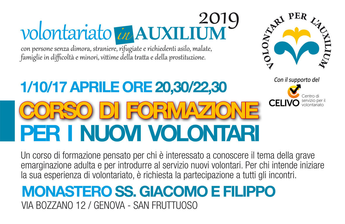 1/10/17 Aprile: corso di formazione per nuovi volontari