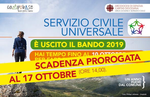 Servizio Civile Universale. Proroga al 17 ottobre per fare domanda