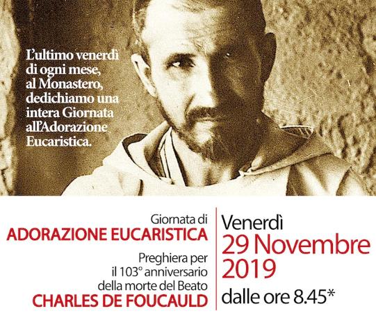 29 Novembre. Giornata di Adorazione Eucaristica al Monastero