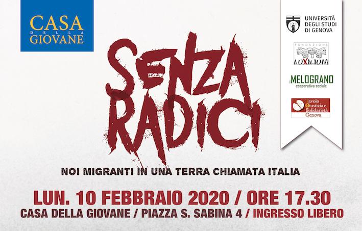 """10 Febbraio. """"Senza Radici – Noi migranti in una terra chiamata Italia"""". Film e incontro a Casa della GIovane"""